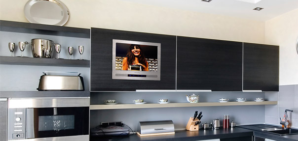 Built-In TV,Under Cabinet TV,Kitchen TV,kitchen cabinet door tv ...
